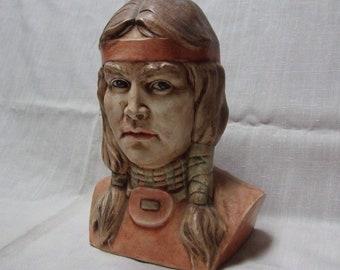 Vintage Native American Bust Painted Ceramic
