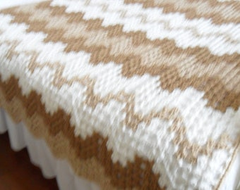 New(Ready to Ship) Crocheted Afghan (Queen)  - Blanket - Throw - Bedspread  ''CONTEMPORARY GRANNY RIPPLE''  in Soft Tans