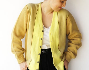 Vintage Tan and Yellow Acrylic Button-Up Cardigan / Size S