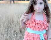 Sizes 18 Months to 4T, Girls Ruffle Dress, Peach and Aqua, Large Ruffles, Halter style