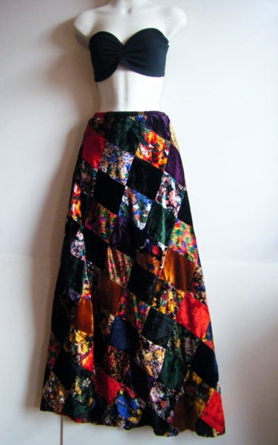 60's / 70's maxi skirt  in floral print burnout silk velvet patchwork, size l