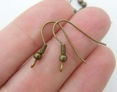 BULK 300 Earring hooks 21mm with ball and wire antique bronze tone