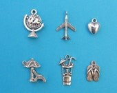 The Love Summer Holiday Charm Collection - 6 different antique silver tone charms