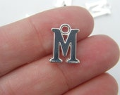8 Letter M alphabet charms silver plated