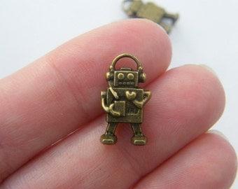 8 Robot charms  antique bronze tone BC148