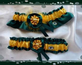 Green Satin Ribbon Flower Wedding Garter Set Made with Green Bay Packers Fabric
