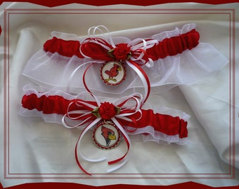 White Organza Wedding Garter Set Made with Illinois State Fabric