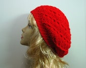 Red Slouchy Hat Loose Snood Tam Beret (or choose any color)