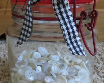 Vintage Glass Wire Bail Jar FIlled With Vintage Ivory Buttons
