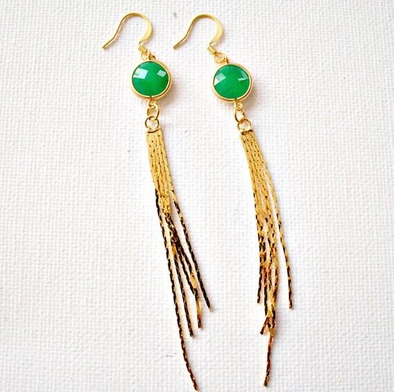 Matt Gold Framed Green Aventurine Glass Stone Connector, 16k Gold Plated Chain Tassel Earring