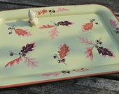 Darling Vintage Mid Century Metal Tray with Acorn and Oak Leaves