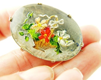 Reverse Painted Glass Brooch - Floral Jewelry - Goofus Glass - Flower Basket - Vintage