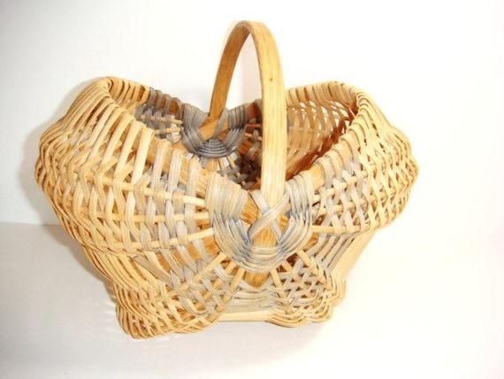 Handmade straw basket : Handmade woven wicker basket vintage by kleymannscloset on
