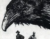 Raven artwork , Raven, crow,  Etching 2010