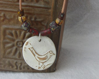 Rustic Bird and Beads Stoneware Pendant Necklace