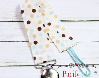 Universal Fabric Pacifier Clip -- Blue Brown Tan Spots -- Soothie