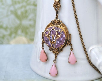 VINTAGE ALEXANDRITE Victorian style antiqued brass necklace with vintage glass jewel and dusty pink drops