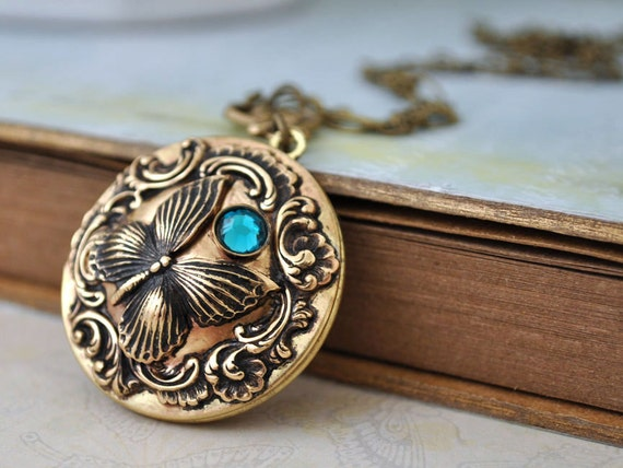 ENCHANTED FOREST vintage brass floral locket necklace with butterfly and blue zircon Swarovski rhinestone