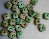 Turquoise Stone Wavy Square Czech Glass Beads - Stone Finish Czech Glass Beads - Bead Soup Beads