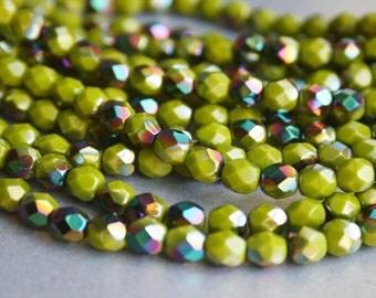 6mm Olive Fire Polished Czech Glass Beads