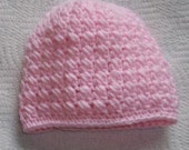 Baby Hat Pink Crossed Puff Stitch - Newborn to 3 Month Size Made in Your Choice of Color