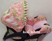 Custom Boutique Infant Pink & Green Paisley Stripe Car Seat Cover 5 piece set