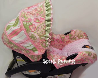 Custom Boutique Infant Pink & Green Paisley Stripe Car Seat Cover 5 piece set