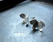 Butterfly Studs Earrings Silver Earrings Handmade in Organic form
