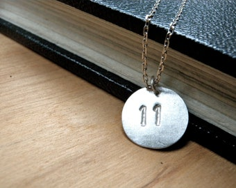 Number 11 necklace hand stamped silver disc necklace - Number eleven silver necklace - Personalized jewelry lucky number silver charm