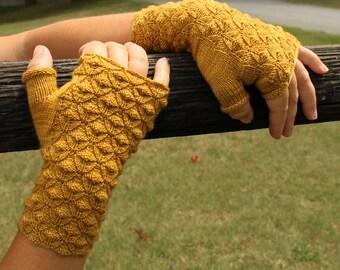 PDF Knitting Pattern Goldenrod Reversible Fingerless Gloves (Instant Download)