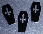 3 x Laser cut acrylic Cross Coffin pendants