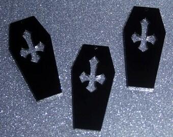 3 x Laser cut acrylic Cross Coffin pendants