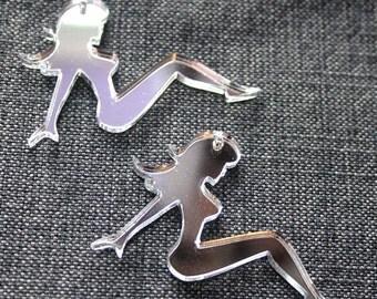 2 x Laser cut acrylic Mudflap Girl pendants