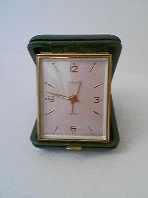 Old Mid Century  Europa 2 Jewels Wind Up Alarm Clock in Green Genuine Leather Case RESERVED Special Order for Victoria