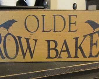 Primitive Olde Crow Bakery Sign, Handmade Wood Sign, Crow Sign, Kitchen Decor, Country Decor, Handmade, Hand Painted Sign
