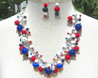 Patriotic Red*White*Blue Baubles, Jade/Lapis/Wood, for Patriotic Holidays - Memorial Day, July 4th, Flag Day, Necklace Set by SandraDesigns