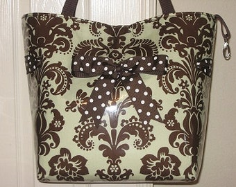 Large Mint and Brown Damask Tote