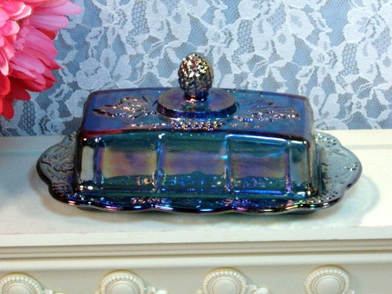 Vintage Indiana Glass Purple Blue Harvest Grape Carnival Glass Butter Dish
