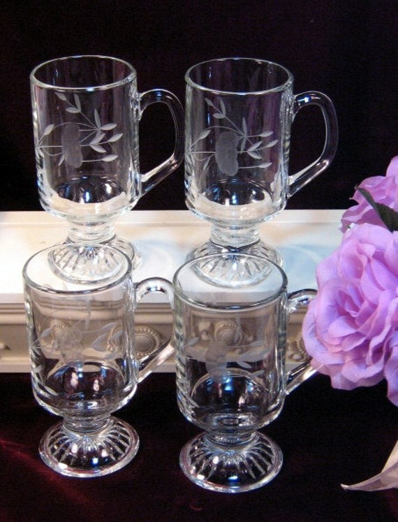 Princess house crystal heritage footed irish coffee mug set for Princess housse