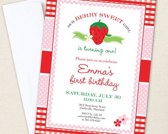 Strawberry Party Invitations - Professionally printed *or* DIY printable