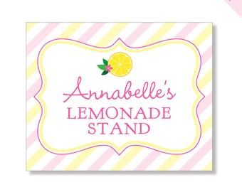 Pink Lemonade Party - Personalized DIY printable sign
