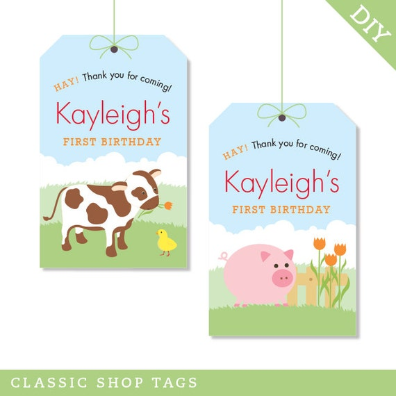 Barnyard Animals Party - Personalized DIY printable favor tags