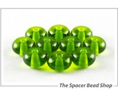 Dark Grass Green Lampwork Beads Glass Spacers Handmade - The Spacer Bead Shop