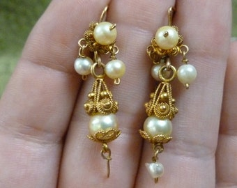 Grand Victorian  Pendeloque pearl and gold earrings cannetille 12k
