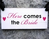 Rustic Here Comes the Bride Sign with Just Married on reverse. 8 x 16 inches, Vintage, 2-sided. Flower Girl, Ring Bearer, Sign Bearer.