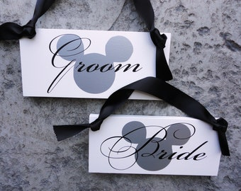 Bride & Groom Mickey Mouse Chair Signs and/or Thank and You. 6 X 12 inches.  Fairy Tale Wedding, Mickey Mouse, Minnie Mouse, Disney Wedding.