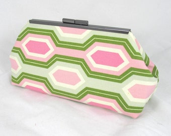 Pink Green Honeycomb clutch lined with contrast purple color faux silk - Framed Clutch-  Purse - Bag
