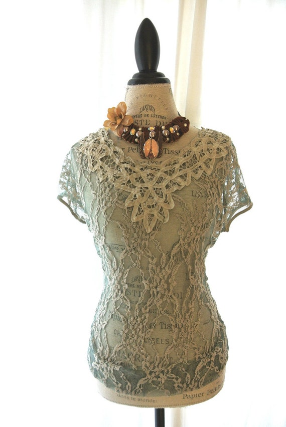 Romantic fall shirt, battenburg lace top, country chic clothing, cottage, vintage autumn green, womens clothing