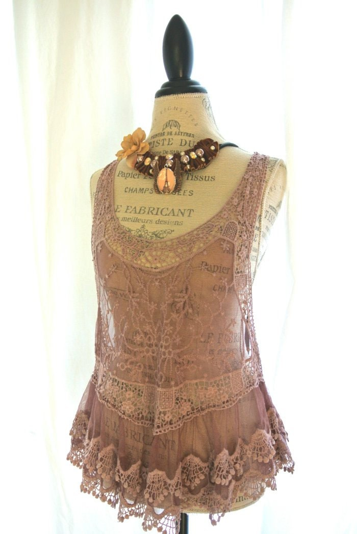 Holiday Lace Tank Boho Chic Dusty Shabby Lilac Country Chic