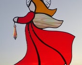 Stained Glass Angel Christmas Red Crystal Pendant